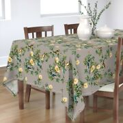 Tablecloth Taupe Floral Yellow Roses Green Vintage Home Birds Rose Cotton Sateen