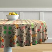 Round Tablecloth Coffee Thermos Thermoses Coffee Bean Cotton Sateen