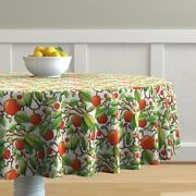 Round Tablecloth Persimmons Persimmon Tree Fruit Food Sweet Leaves Cotton Sateen