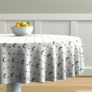 Round Tablecloth Ant Ants Pickles Pickled Cucumbers Jars Picnic Cotton Sateen