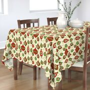 Tablecloth Retro Christmas Holiday Ornaments Balls Funky Cotton Sateen