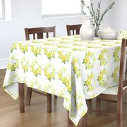 Tablecloth Vintage Yellow Rose Roses Wreath Botanical Florals Cotton Sateen