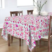 Tablecloth Mint + Pink Rose Vintage Floral Flower Abstract Summer Cotton Sateen