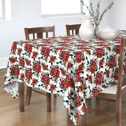 Tablecloth Vintage Watercolor Red Roses Floral Rose Christmas Cotton Sateen