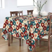 Tablecloth Floral Retro Style Teal Burgundy Vintage Cotton Sateen