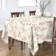 Tablecloth Pink And White Roses Vintage Rose Garden Botanicals Cotton Sateen