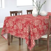 Tablecloth Rose Festive Floral Flowers Red Christmas Cream Vintage Cotton Sateen