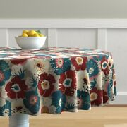 Round Tablecloth Floral Retro Style Teal Burgundy Vintage Cotton Sateen