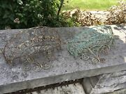 Pair Antique Matching French Wire Wall Garden Baskets Stunning Patina
