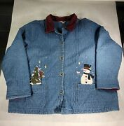 Cj Banks Denim Jean Quilted Embroidered Corduroy Christmas Jacket Coat 3x 2005