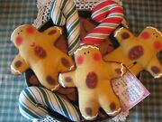 Primitive Gingerbread And Candy 3 Bowl Fillers, Ornaments, Dolls, Shelf Sitters