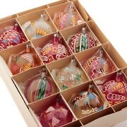 Lot 12 Antique Czech Blown Glass Hand Painted Christmas Tree Ornaments