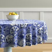 Round Tablecloth Blue Willow Blue China Chinoiserie Dishes Plates Cotton Sateen