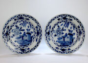 Matched Pair Antique Dutch Delft Pottery Chinoiserie Chargers / Wall Plates - Pt