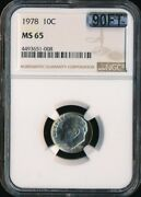 1978 Roosevelt Dime Ngc Mac Ms65 90ft 2nd Finest Grade 2500 For A Ft