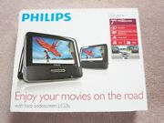 Philips Pd7012 Portable Dvd Player, Car Headrest, Dual Screen, Complete, Works