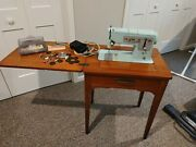 Vintage Singer 338 Sewing Machine W/ Foot Pedal Accessories Bobbins Needles All