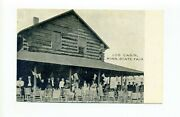 Antique Minnesota State Fair Postcard, Log Cabin, People, Flags, Rocking Chairs