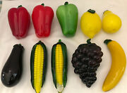 Pre-owned Murano Style Glass 10 Pieces Of Fruits And Vegetables