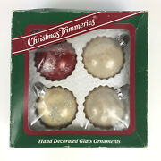 Vintage Christmas Hand Decorated Glass Ornaments Red White