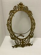 Antique Picture Frame Large Ornate Brass Rococo Oval Easel Back Menu Mirror ++