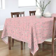 Tablecloth Circuitry 50s Electronic Robot Pink Green Maroon Cotton Sateen