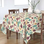 Tablecloth Christmas Ornaments Holiday Ornament Gold Purple Blue Cotton Sateen