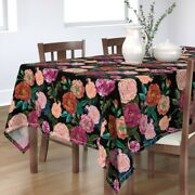 Tablecloth Vintage Floral Vintage Retro Moody Roses Rose Cotton Sateen