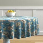 Round Tablecloth Map Maps Illustrated Maps Adventure Nautical Cotton Sateen