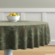 Round Tablecloth Fire Hand-painted Khaki Gold Hygge Firelight Cotton Sateen