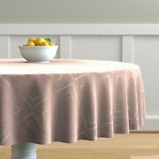 Round Tablecloth Large Scale Tile Blush Pink Weathered Look Modern Cotton Sateen