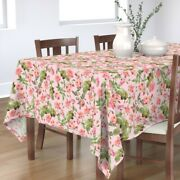 Tablecloth Rose Nature Summer Pink Vintage Flowers Moody Florals Cotton Sateen