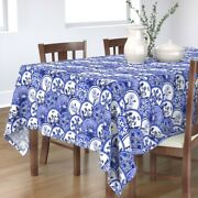 Tablecloth Blue Willow Blue China Chinoiserie Dishes Plates Cotton Sateen