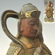 Hobby Chinese Antique Ming Dynasty Wood Carving Colored Warrior Statue Height