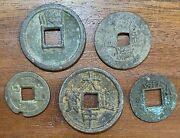 5 X Very Old Chinese Coins In Good Condition