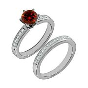 1.25 Carat Real Red Diamond Solitaire Fine Bridal Ring Band Set 14k White Gold