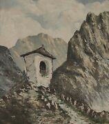 Painting Signed Band Mountain Alps Daniel