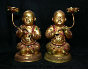 9 Old Dynasty Copper Gold Gilt Inlay Gem Tongzi Lotus Candle Holder Statue Pair