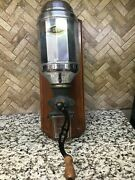 Vintage / Antique Wall Mount Coffee Metal Grinder From France With Glass Catcher