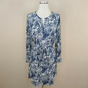 Shoshanna 100 Silk Dress Belted Long Sleeve Navy Blue White Abstract Size 6