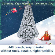 7/6ft Christmas Tree White Snow Covered Xmas Decorations Decor With Stand