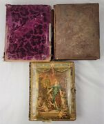 Antique Velvet Celluloid Photo Albums, Brass Closures, W/ 80 Photos And Tintypes