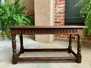 Antique English Carved Oak Pegged Joint Stool Duet Bench Window Seat C1900