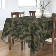 Tablecloth Splinter Camo Green + Camouflage Abstract Hunting Cotton Sateen