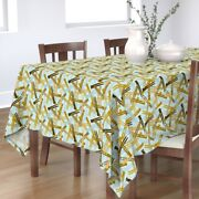 Tablecloth Clothes Pin Vintage Mod House Chores Laundy Camouflage Cotton Sateen