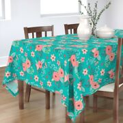 Tablecloth Teal Blue Flowers Vintage Summer Blooms Fall Modern Cotton Sateen