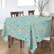 Tablecloth Map Illustrated Maps Adventure Nautical Pirate Boats Cotton Sateen
