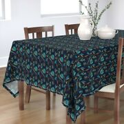 Tablecloth Art Deco Floral Vintage Navy Teal Gold Abstract Tulip Cotton Sateen