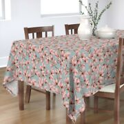Tablecloth Blue And Pink Magnolia Branch Floral Nursery Flower Cotton Sateen