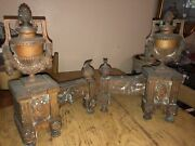 Pair Antique Bronze French Fireplace Chenets Andirons 18th Century Louis Xvi